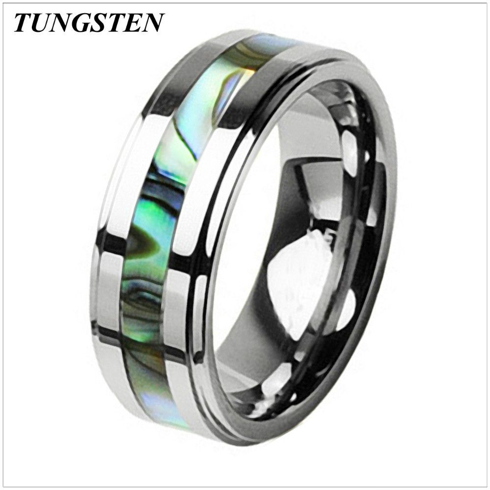 Fanatic Accessories - 8mm Men's Tungsten Carbide Abalone Inlay Engagement Wedding Ring
