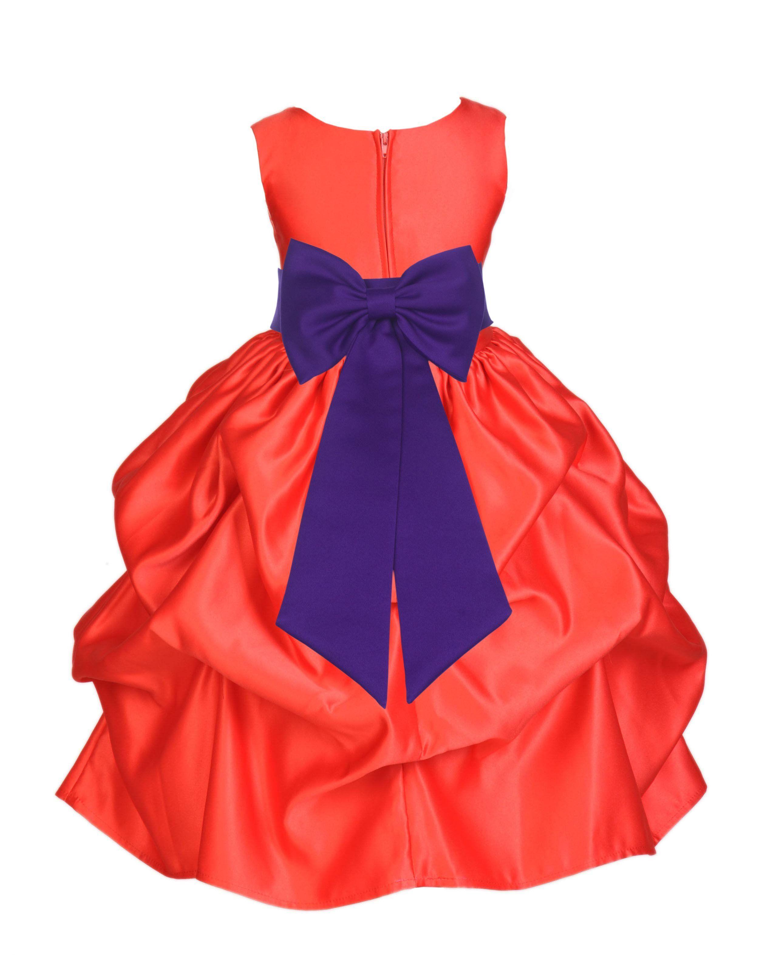 Red Pick-up Satin Flower Girl Dress Princess Bridesmaid Beauty ...
