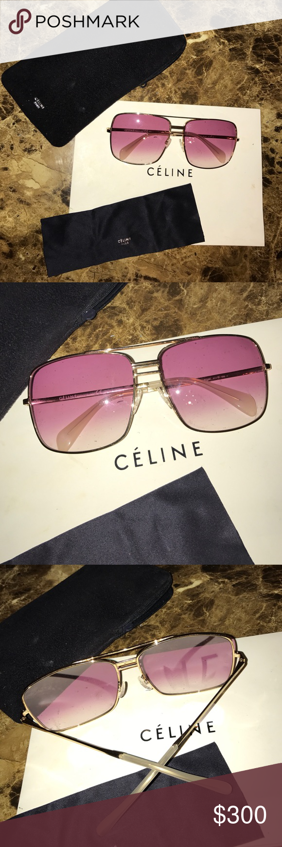 Celine Sunglasses 100% Authentic. Worn no more than twice! I've debated about keeping them, they are gorgeous but are too big for my face frame. Enjoy! Celine Accessories Sunglasses