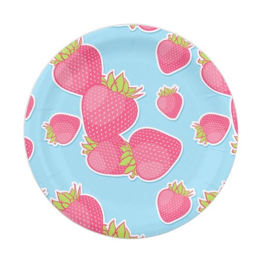 sc 1 st  Pinterest & Whimsical Strawberry Pattern on Blue Paper Plate