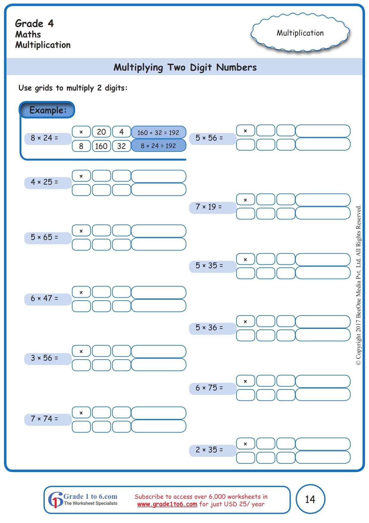Worksheet Grade 4 Math Multiplying Two Digit Numbers In