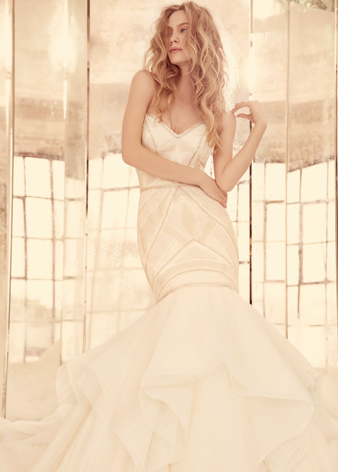 Hayley paige yokoivory beaded fit to flare bridal gown geometric