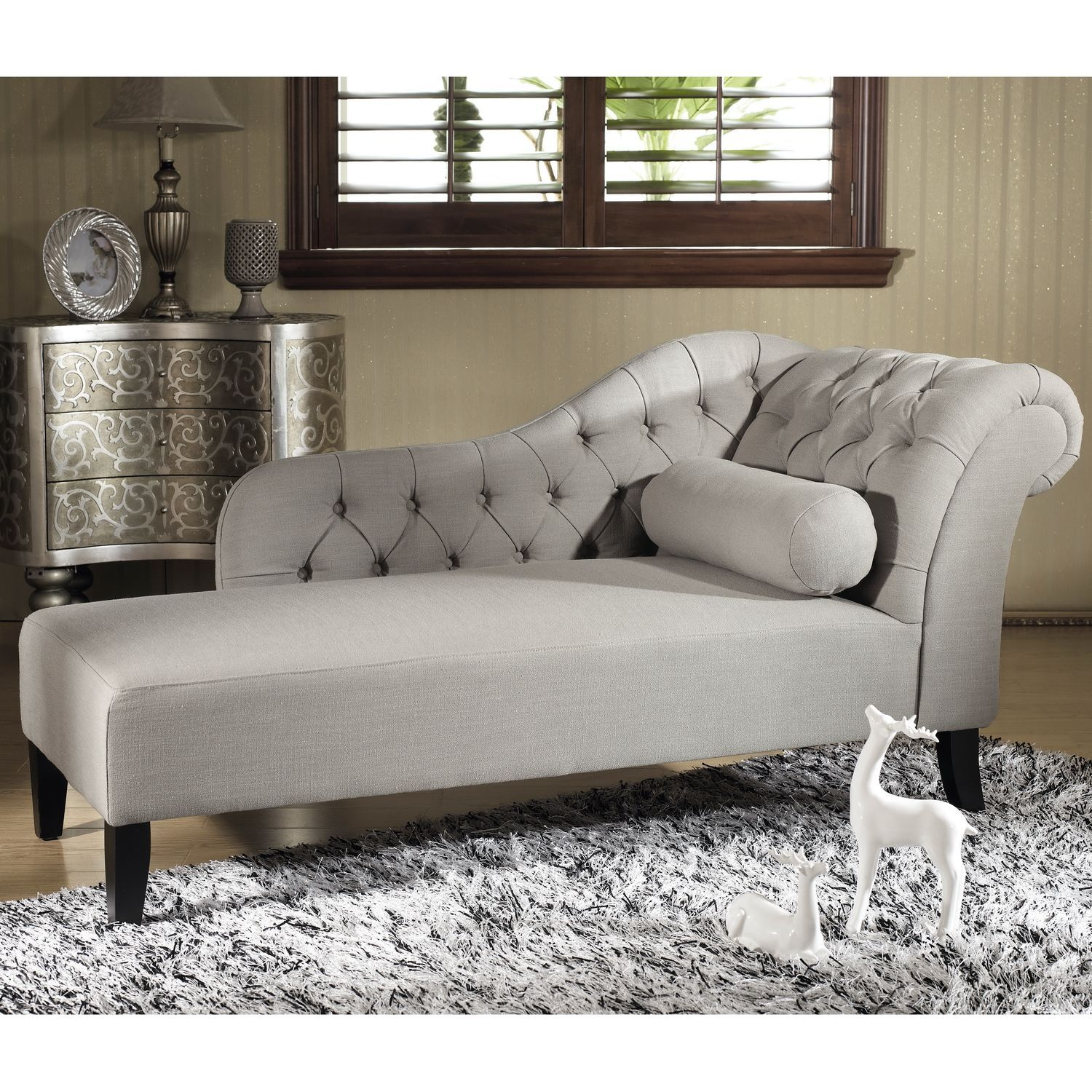 Baxton Studio Aphrodite Tufted Putty Gray Linen Modern Chaise Lounge