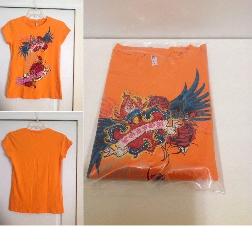 T shirt handmade design - Handmade Design Orange Graphic Tee Shirt Size Xl Best Fit S M Handmade
