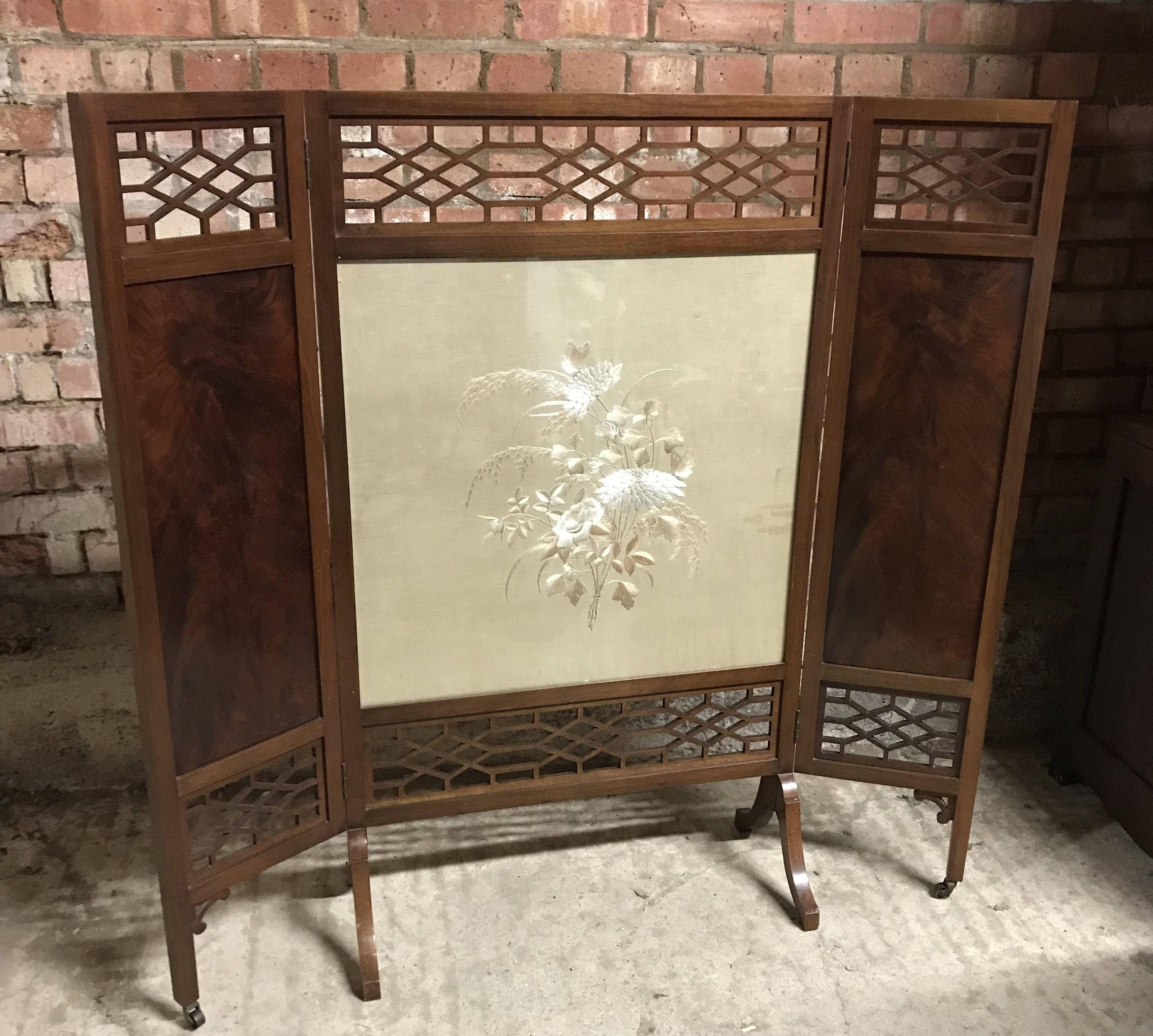 antique edwardian three folding fire screen with chinese silk