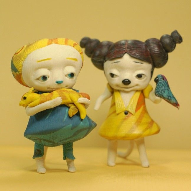 Critter Beast with tiny Creature - Yellow Blue Orange -  Art Doll OOAK Fairy Tale Figurative Sculpture