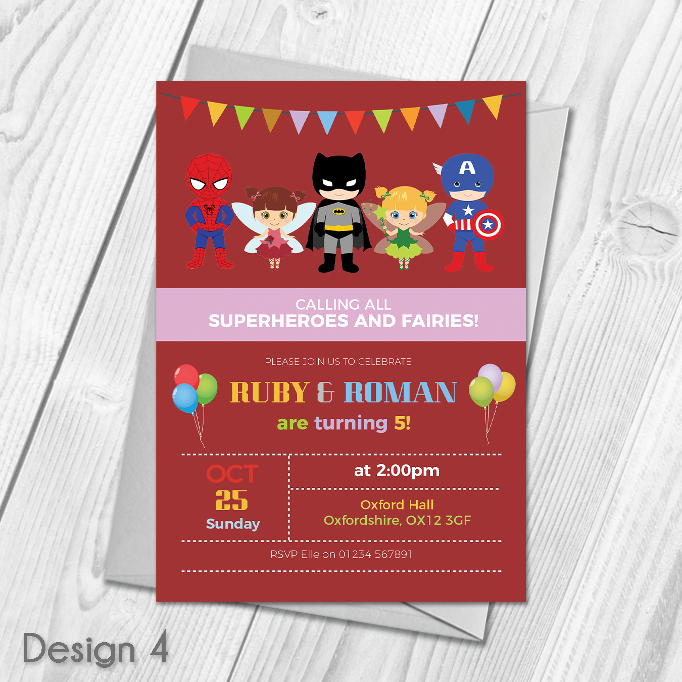 Personalised Fairy Princess and Superhero Birthday Party Invitations ...
