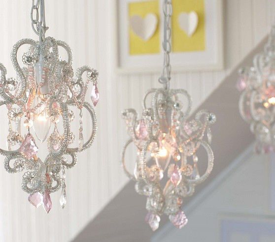 Pottery barn kids teen gianna mini chandelier plug in pink clear gianna mini chandelier adorable for a girls room aloadofball Image collections