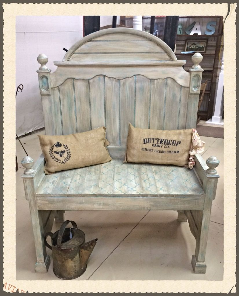 Bench from old bed frame ideen f r 39 s haus pinterest - Kinderbett landhausstil ...