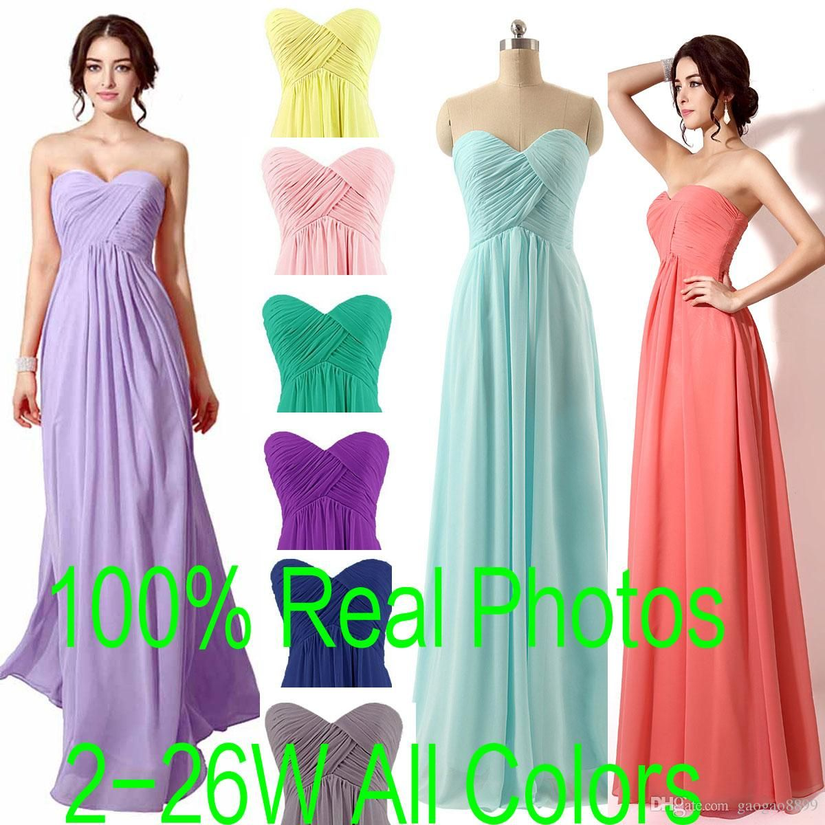 In Stock Sweetheart Chiffon Maid of Honor Dresses A line Coral Lilac ...