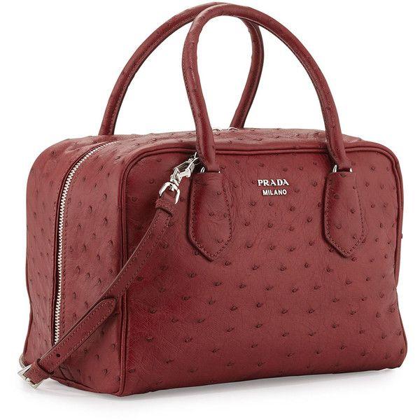 ea9501758fb0 Prada Medium Ostrich Inside Bag (25.560 BRL) ❤ liked on Polyvore featuring  bags, handbags, prada, tote handbags, tote purses, prada purses, red tote  bag ...