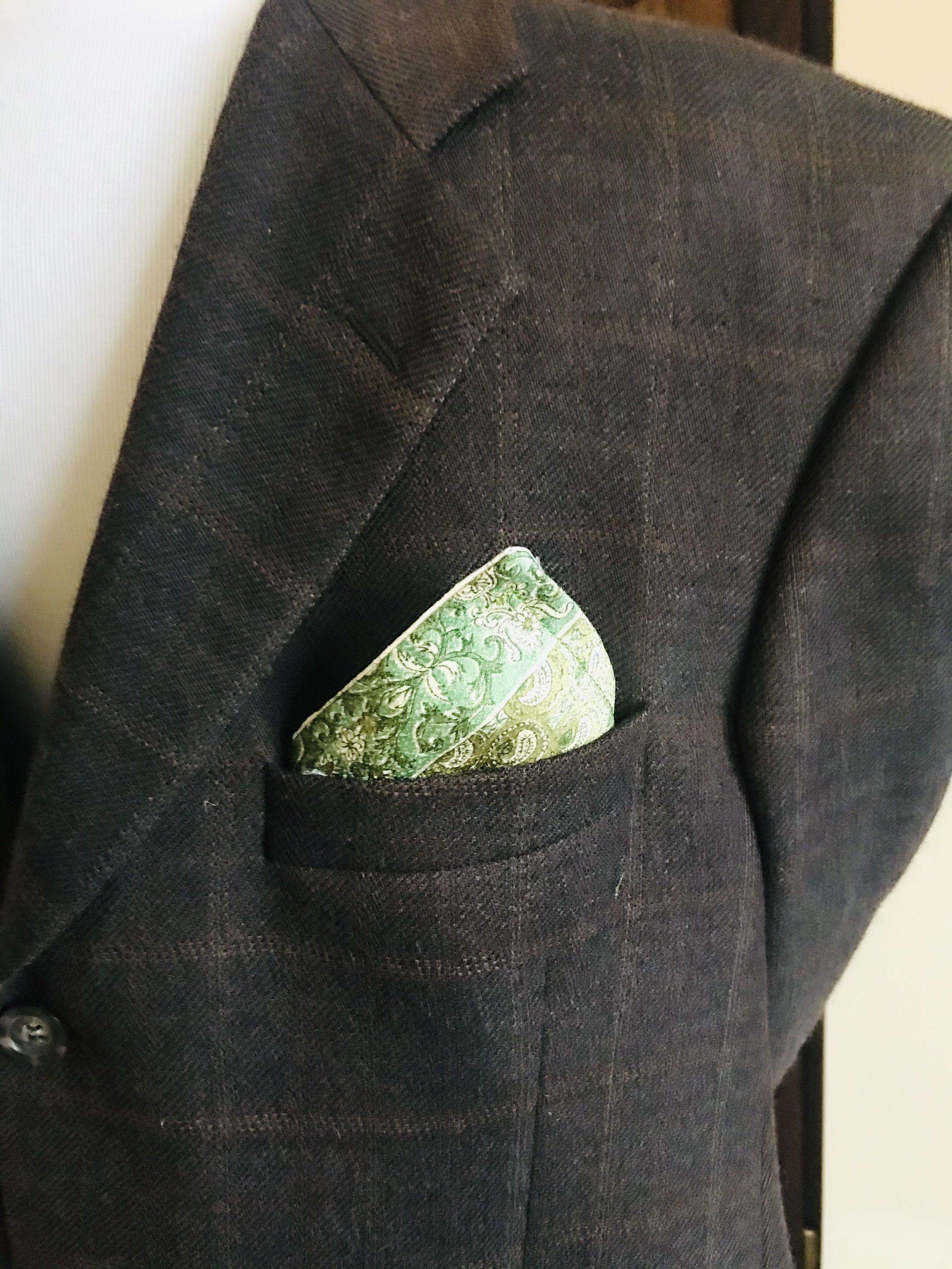 Blue and White Pocket Square Reversible Men/'s Suit Accessory Vintage Japanese Kimono Fabric