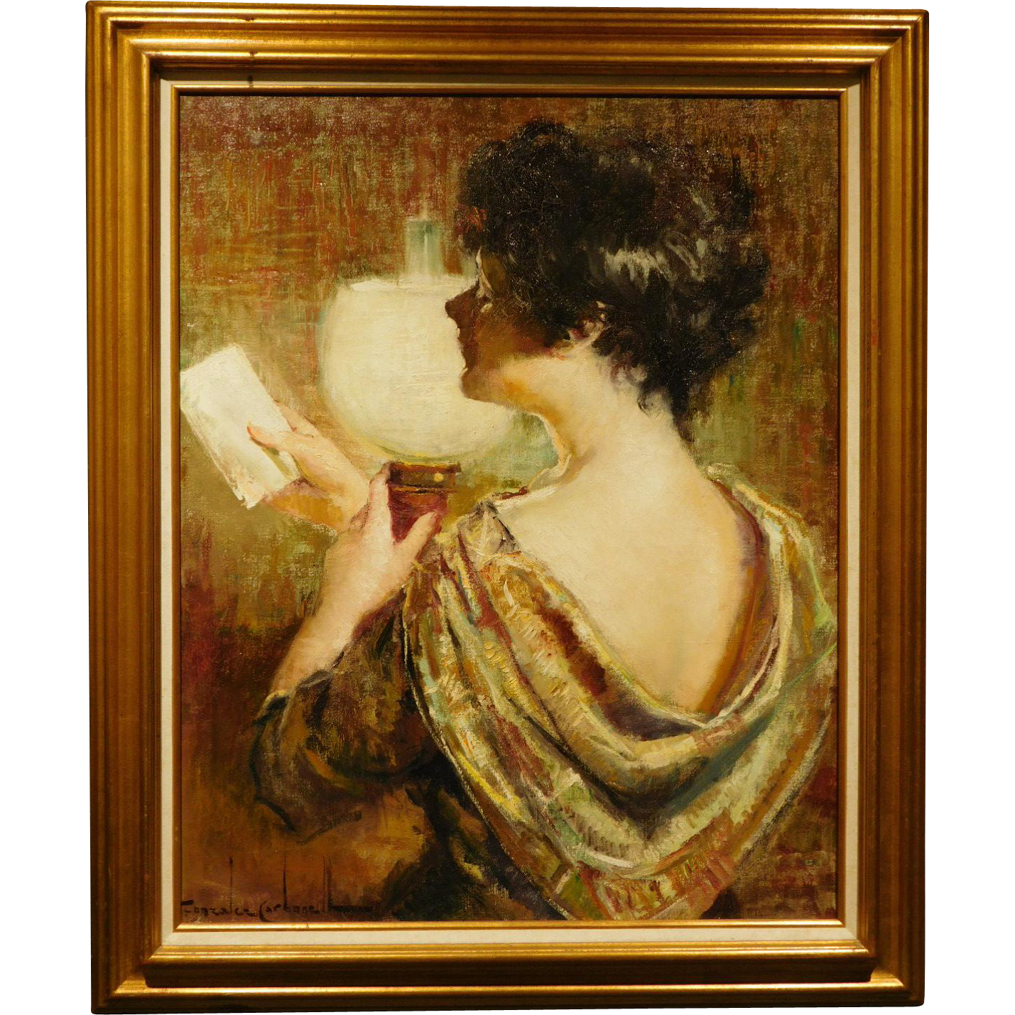 Woman Reading with Lamp, Oil Painting by Carbonell from Woodshed Gallery on RubyLane.com