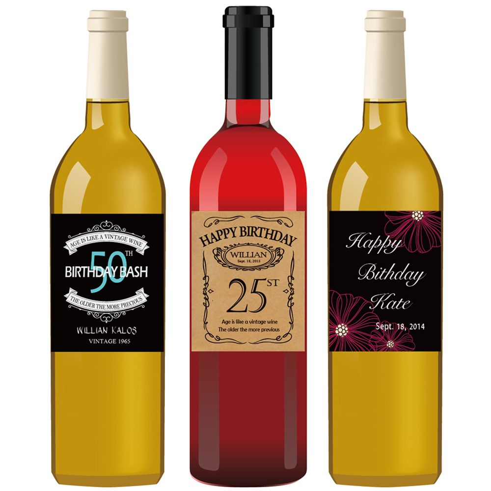 Custom Happy Birthday Wine Label Vintage Bottle Labels First 21st 30th 40th 50th 60t Bridal Shower Bottle Labels Bridal Shower Wine Label Wedding Bottle Labels