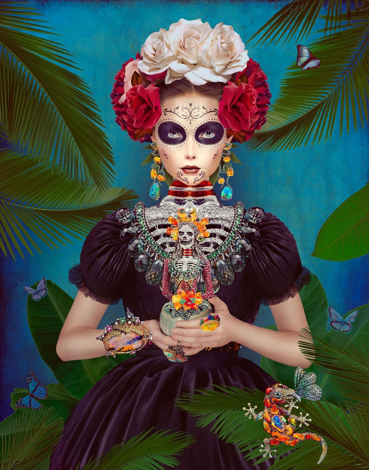 Natalie Shau Mexican Traditional Art Style Frida Kahlo Inspired Painting Great Wall Made Large For A Day Of The Dead Or Fiesta Party