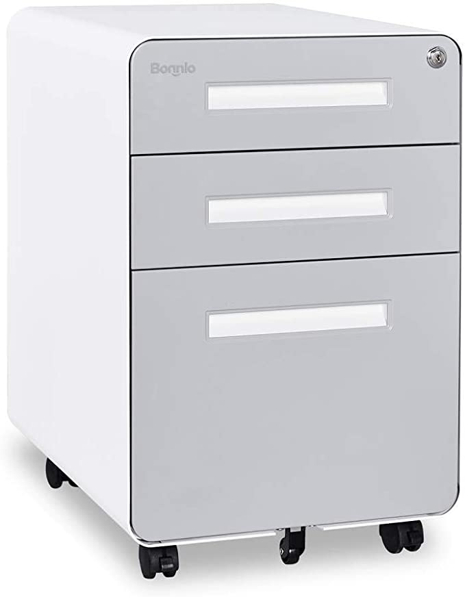 3 Drawer Lateral File Cabinet With Lock White Heavy Duty Metal Storage Printer Stand Anti Rust Large Filing Filing Cabinet Lateral File Cabinet Printer Stand