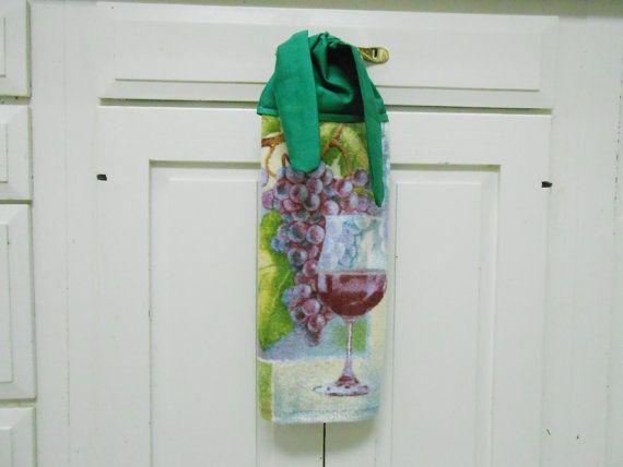 Kitchen Hand Towel, Wine Dish Towel, Hand Towel, Hanging Towel, Tie On Towel,  Towel With Ties, Grapes, Kitchen Decor, Tea Towel