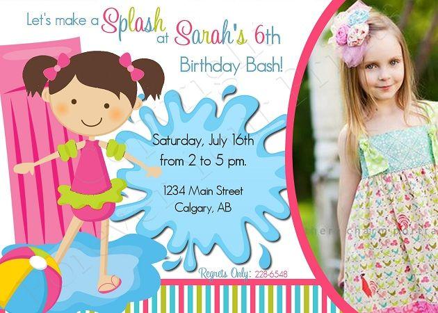 Pool Party Birthday Invitation - Girl BDG041-birthday party - birthday invitation pool party
