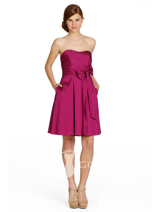 magenta strapless empire short a-line pocket bridesmaid dress with ...