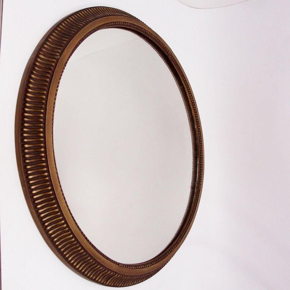 Spiegel Antik Stil Messing 59 Cm Rund Alter Massiver Wandspiegel