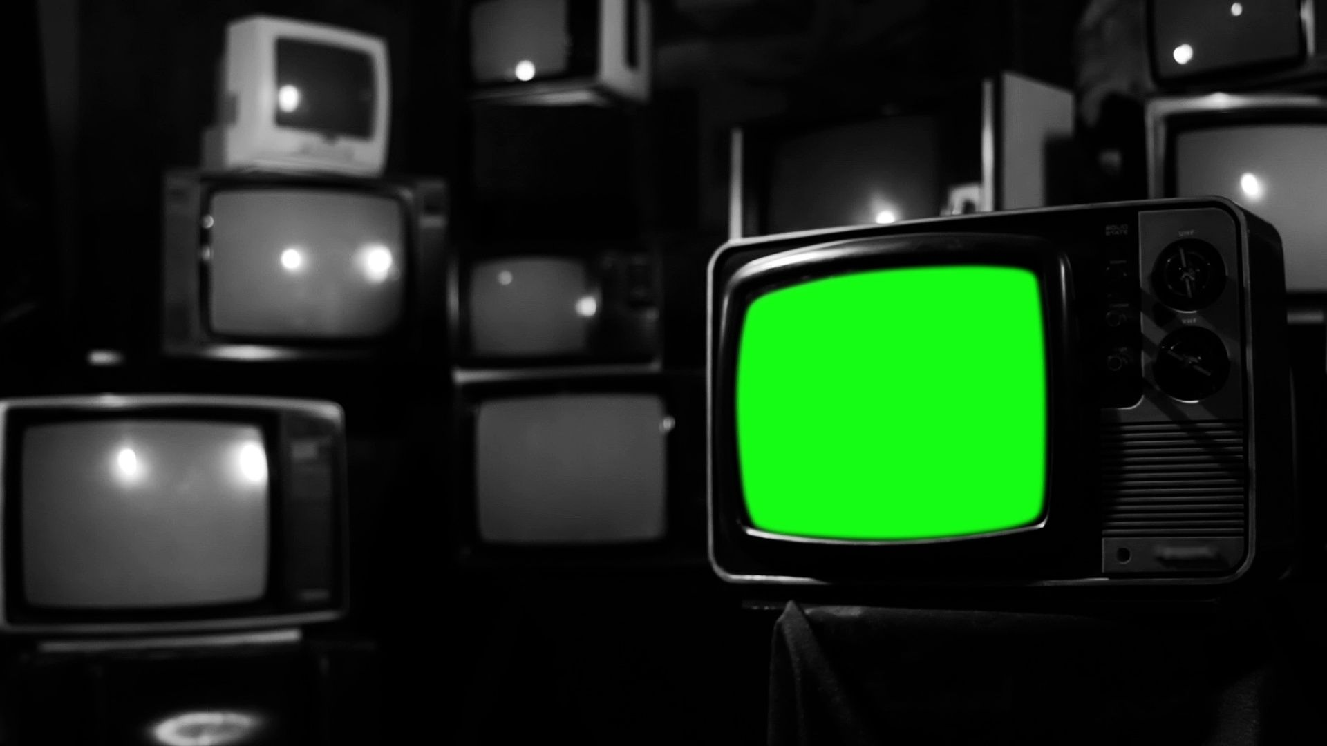 Tv Of The 1980s With Green Screen Over A Retro Tv Wall Bw Tone Zoom Out Stock Footage Ad Screen Retro Tv Green Greenscreen Green Screen Footage Tv Wall