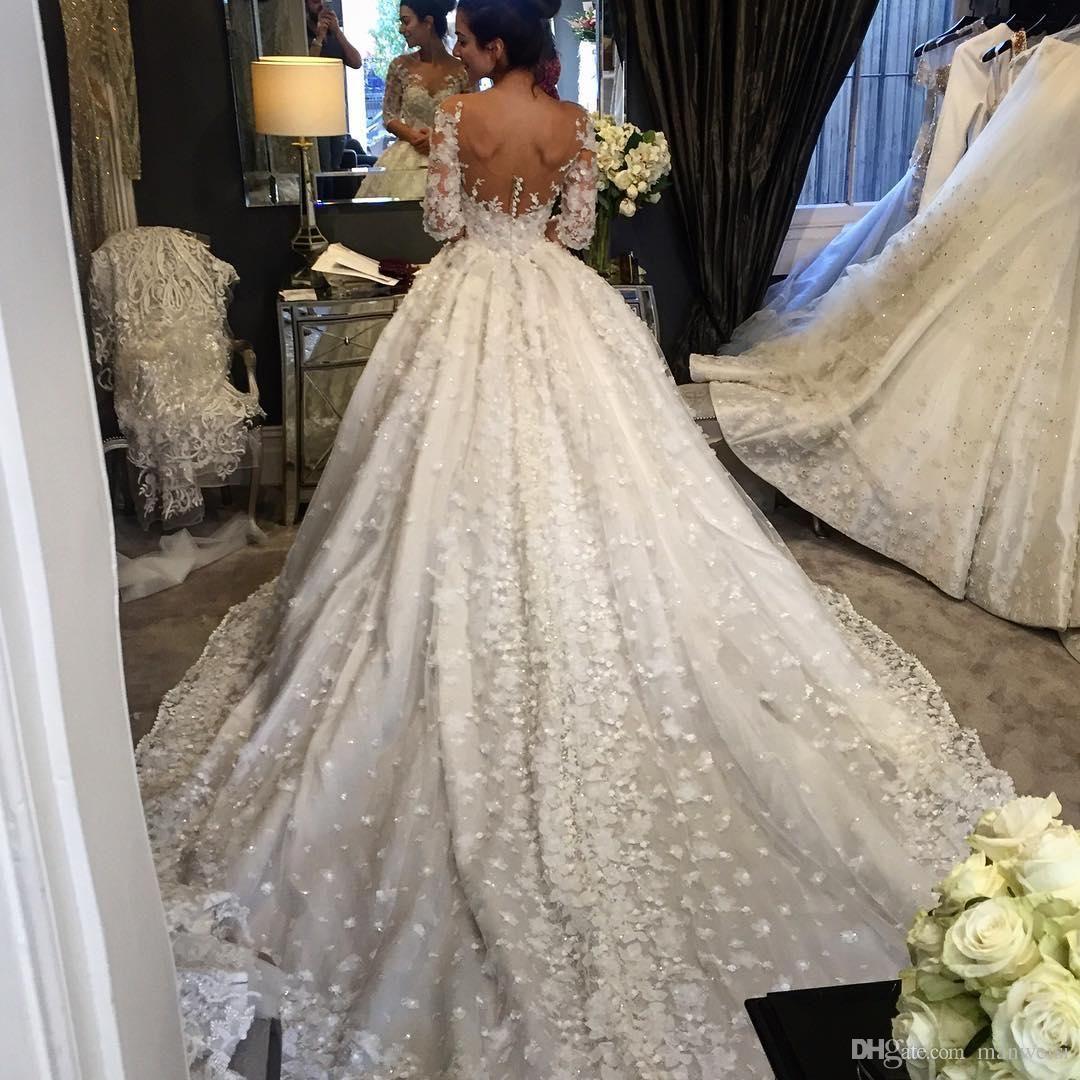 Luxuriöse Ballkleid-Kristall-Hochzeits-Kleider halbe Hülse 11D