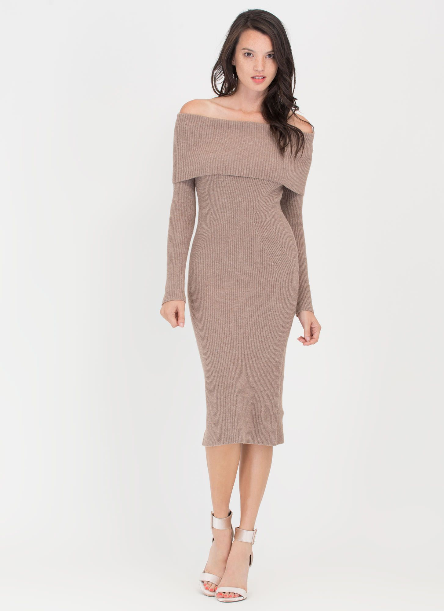 Lookin  Good Rib Knit Off-Shoulder Dress OATMEAL WINE - GoJane.com ... 887a52808