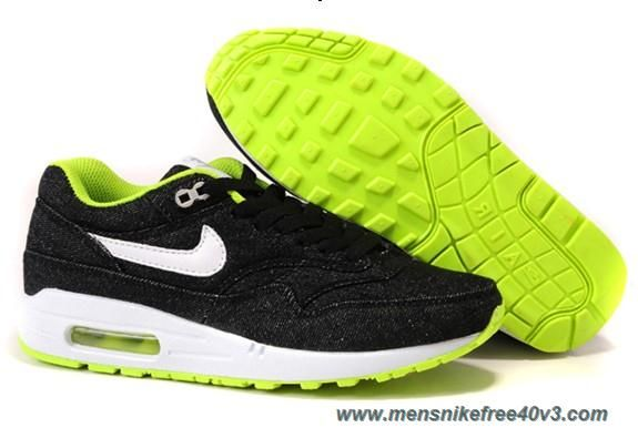 new styles 1d61f 9b64b New Denim Black White Cyber Cool Grey Shoes Nike Air Max 1 512033-019 Womens