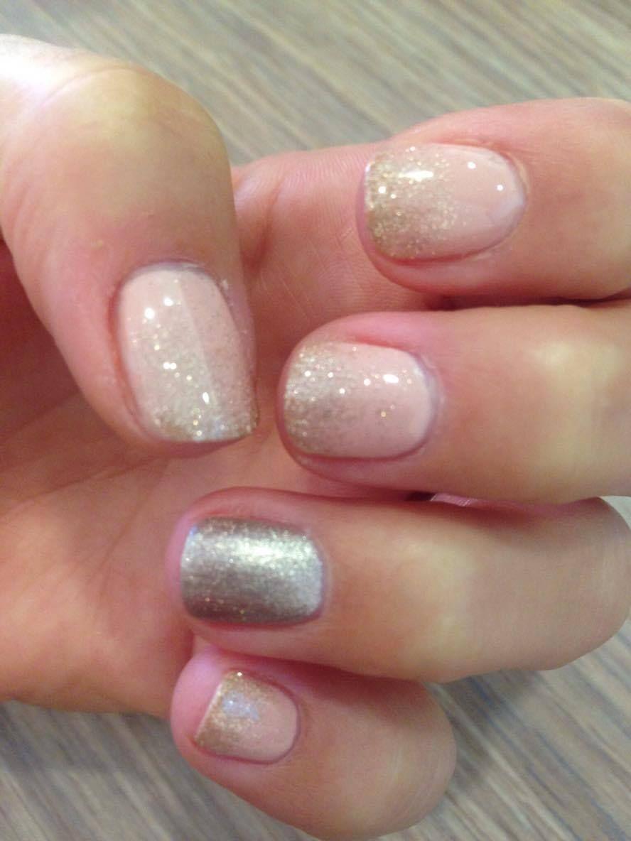 Pure Pastel Wedding Guest Sparkling Short Gel Nails Gel Design