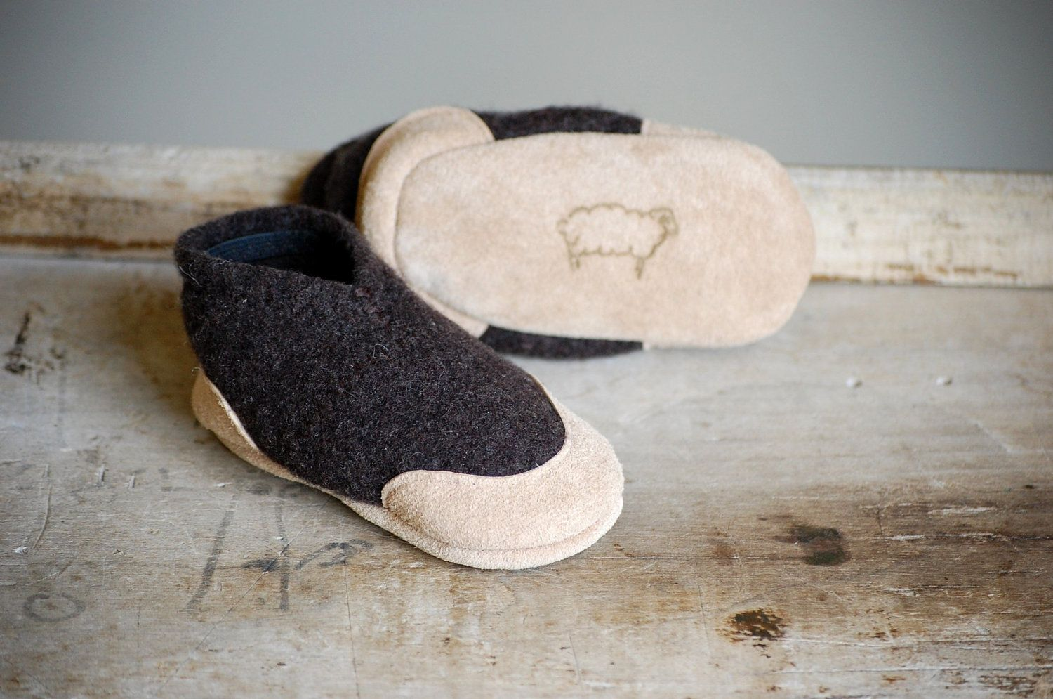 Baby Wool Slippers from Recycled Materials, Sizes 0-12, 6-18  months, Riding Ponies. Etsy.