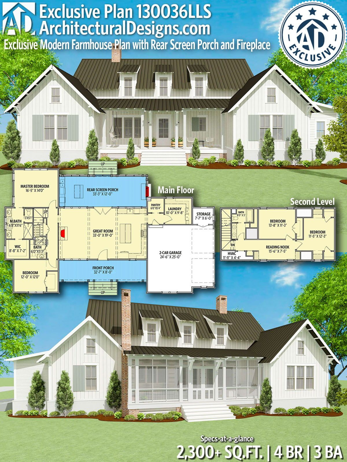 Plan 130036lls Exclusive Modern Farmhouse Plan With Rear