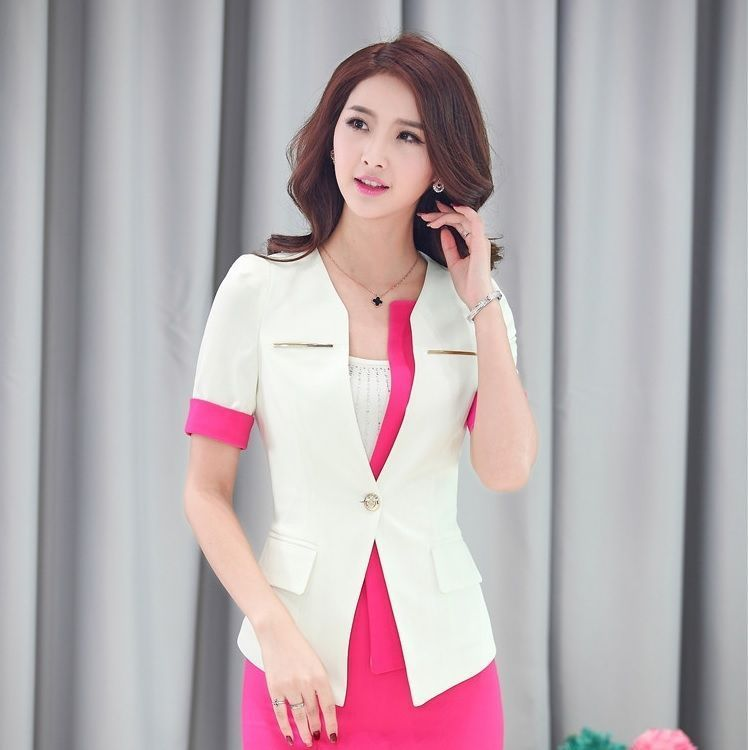 aa1963c88 2015 Summer Short Sleeve Female Blazer Coat Tops Clothing For Ladies Office  Uniform Design Business Women Blazers Blaser #officedesignsbusiness