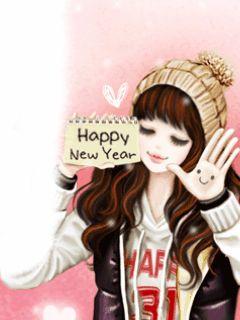 Happy New Year Ucapan Tahun Baru Gadis Animasi Selamat