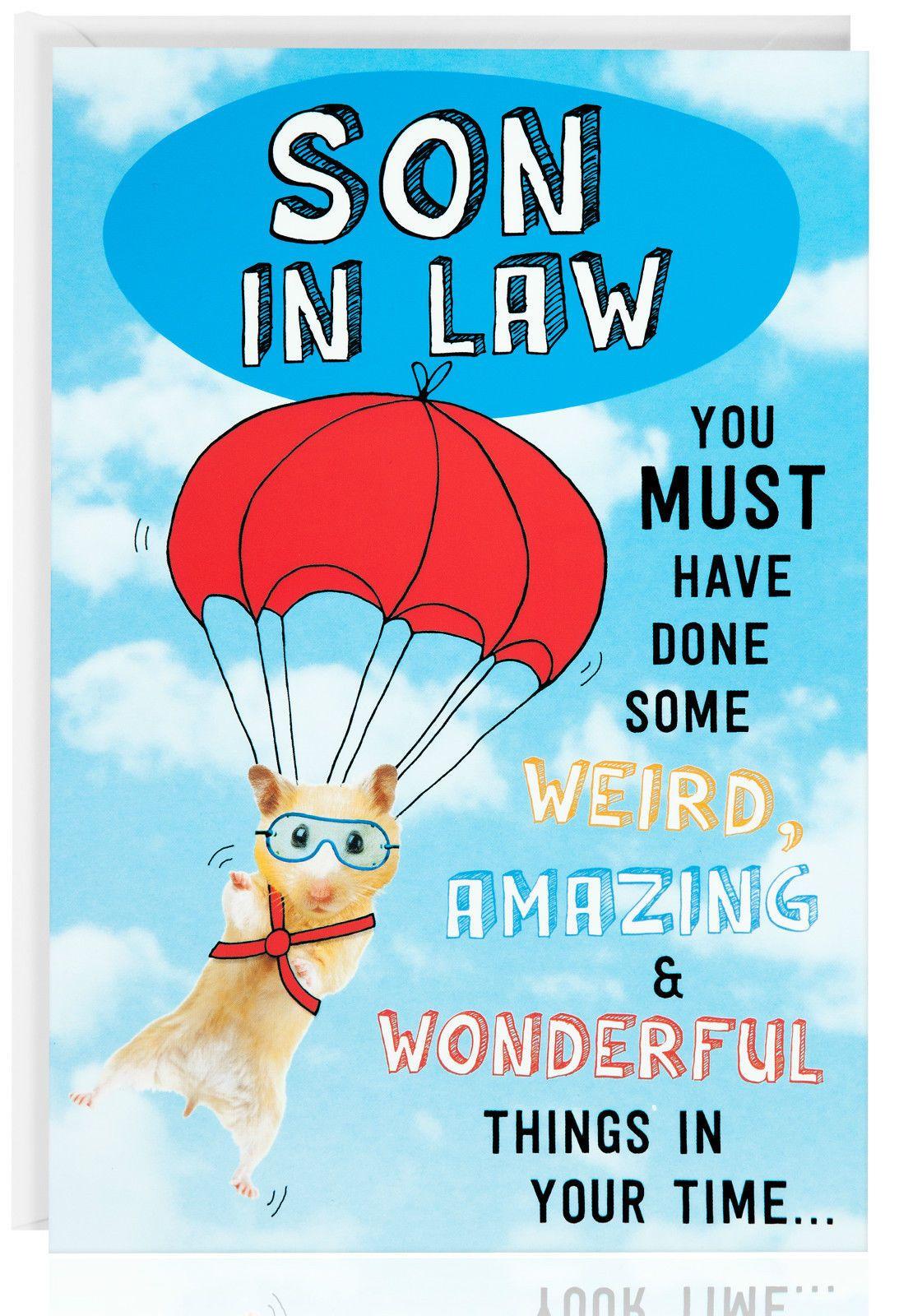 SON IN LAW Birthday Card Funny Humour Joke Hamster Male – Funny Birthday Card for Son