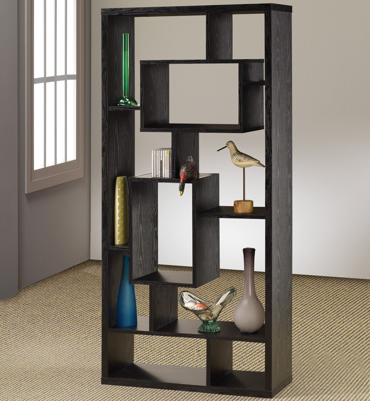 Black Finished Asymmetrical Shelving Unit 15 Shelves In Various