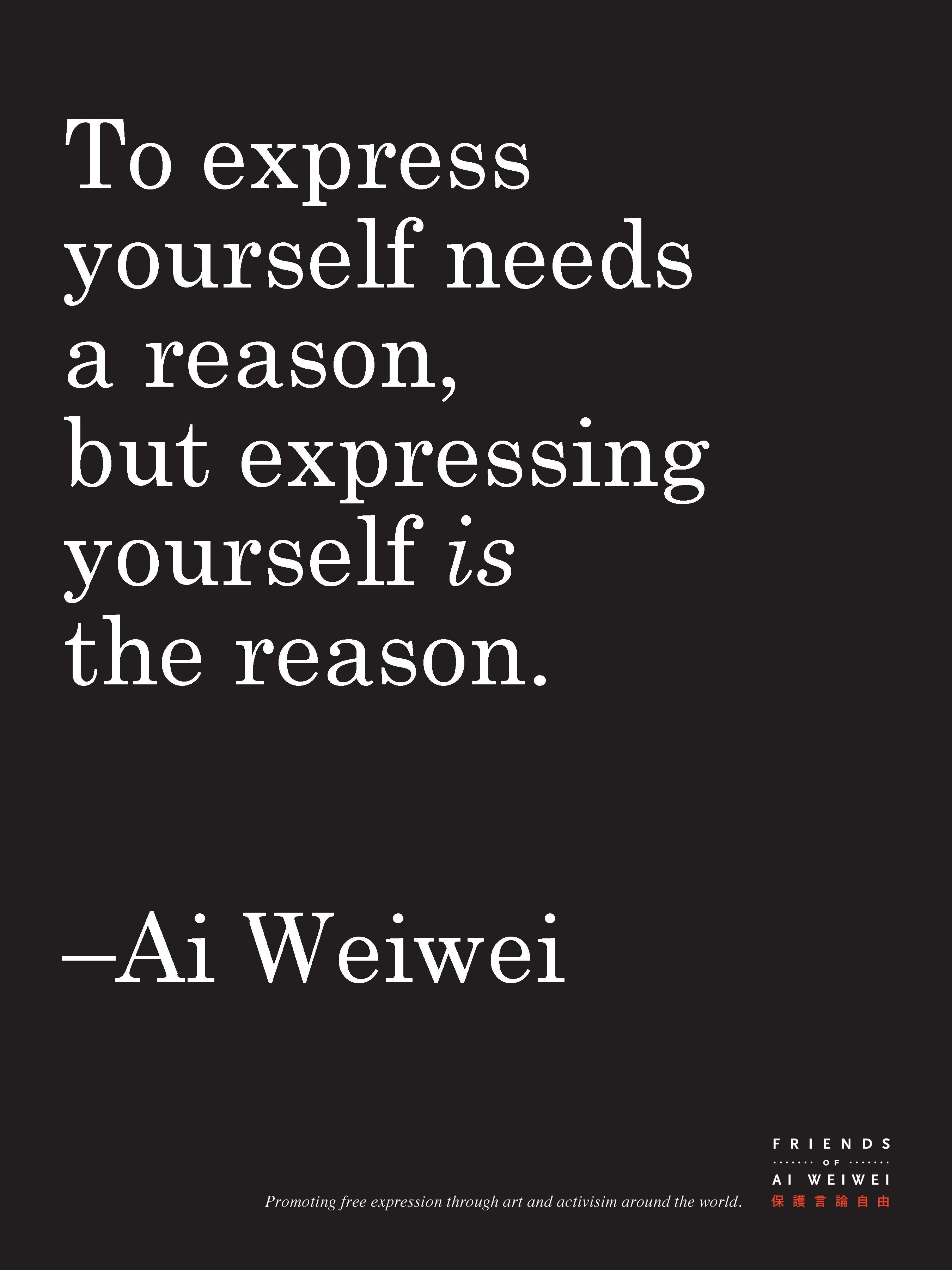 """Ai Weiwei: Limited Edition: Quote Poster From Book: """"Weiwei-Isms ..."""