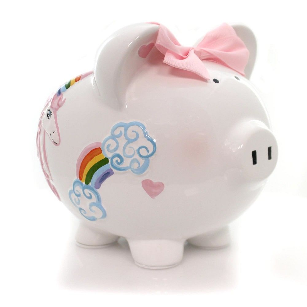 My First Piggy Bank Block Shaped ~ Every Day Something New ~Moon Stars Rainbow