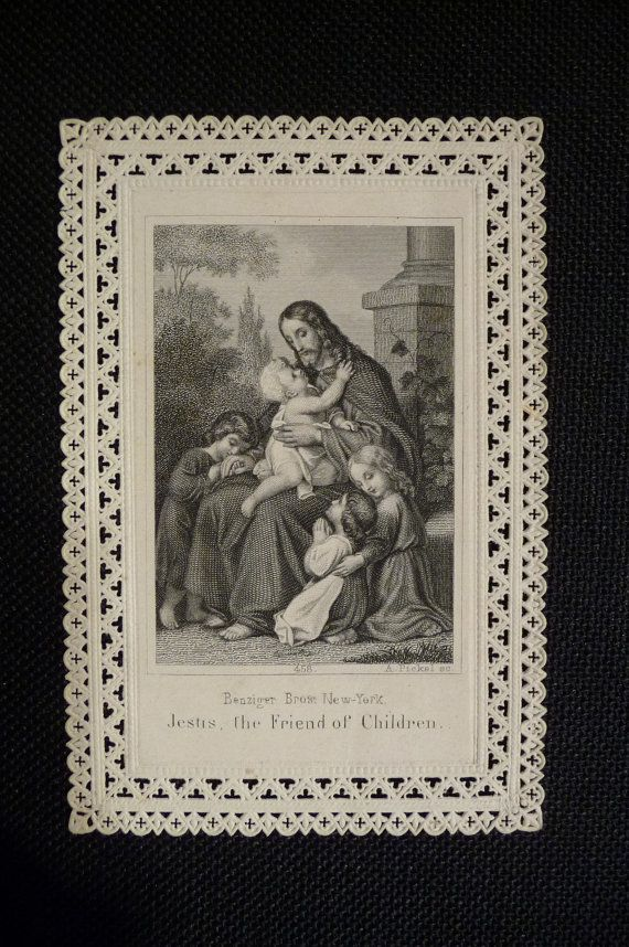 Antique holy card Paper lace Jesus the Friend