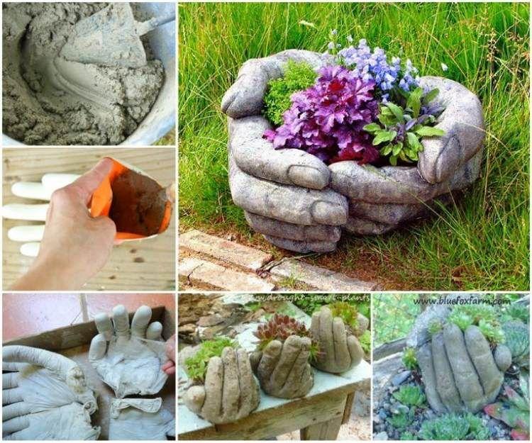 Gartendeko selbstgemacht basteln  kreative Pflanzgefäße aus Beton und Gummihandschuhen | concrete ...