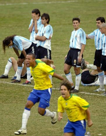 Argentina 2 Brazil 2 (2-4 agg) in 2004 in Lima. Brazil players go crazy  with joy but just look at Javier Zane… | Brazil football team, Brazil  players, Football team