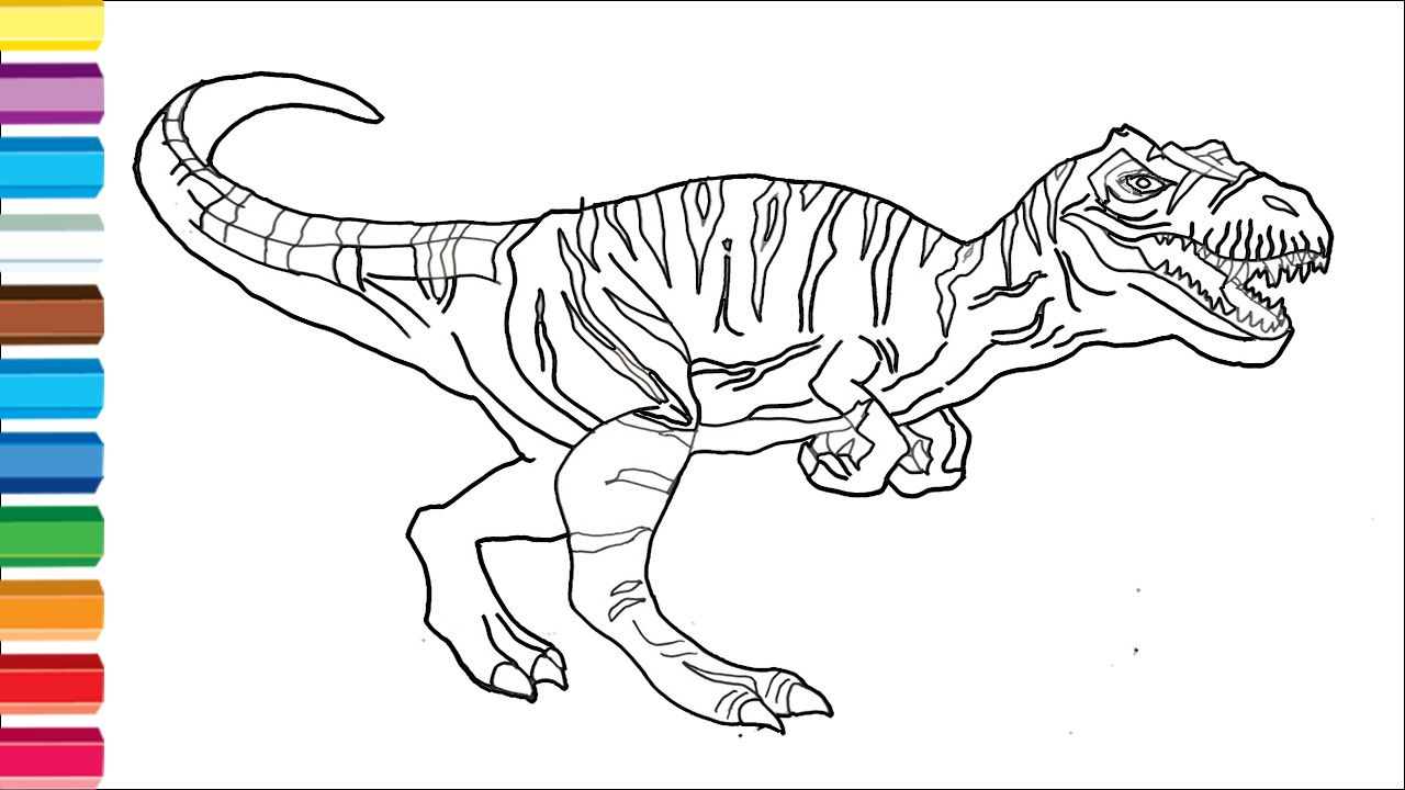 How To Draw Allosaurus Step By Step Drawing Dinosaur Easy Coloring Pages For Kids Coloring Pages For Kids Dinosaur Coloring Pages Easy Coloring Pages