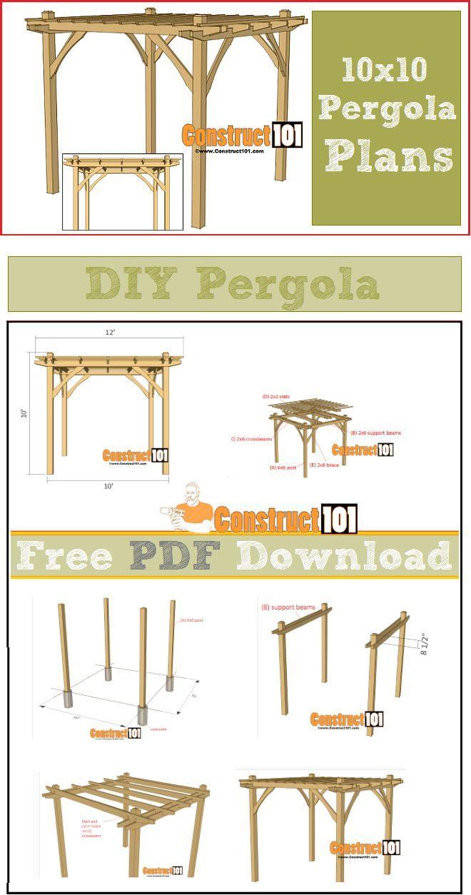Framing A 10x10 Room: 10x10 Pergola Plans - PDF Download