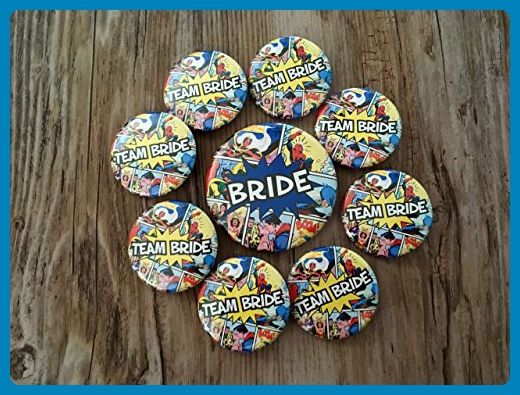 Nerdy Bachelorette Party Pins Team Bride Comic Book Ons Wedding Favors
