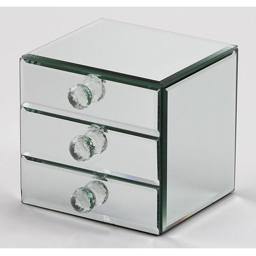 Juna Mirrored 3 Drawer Jewelry Box 5W x 575H in Trinket Boxes