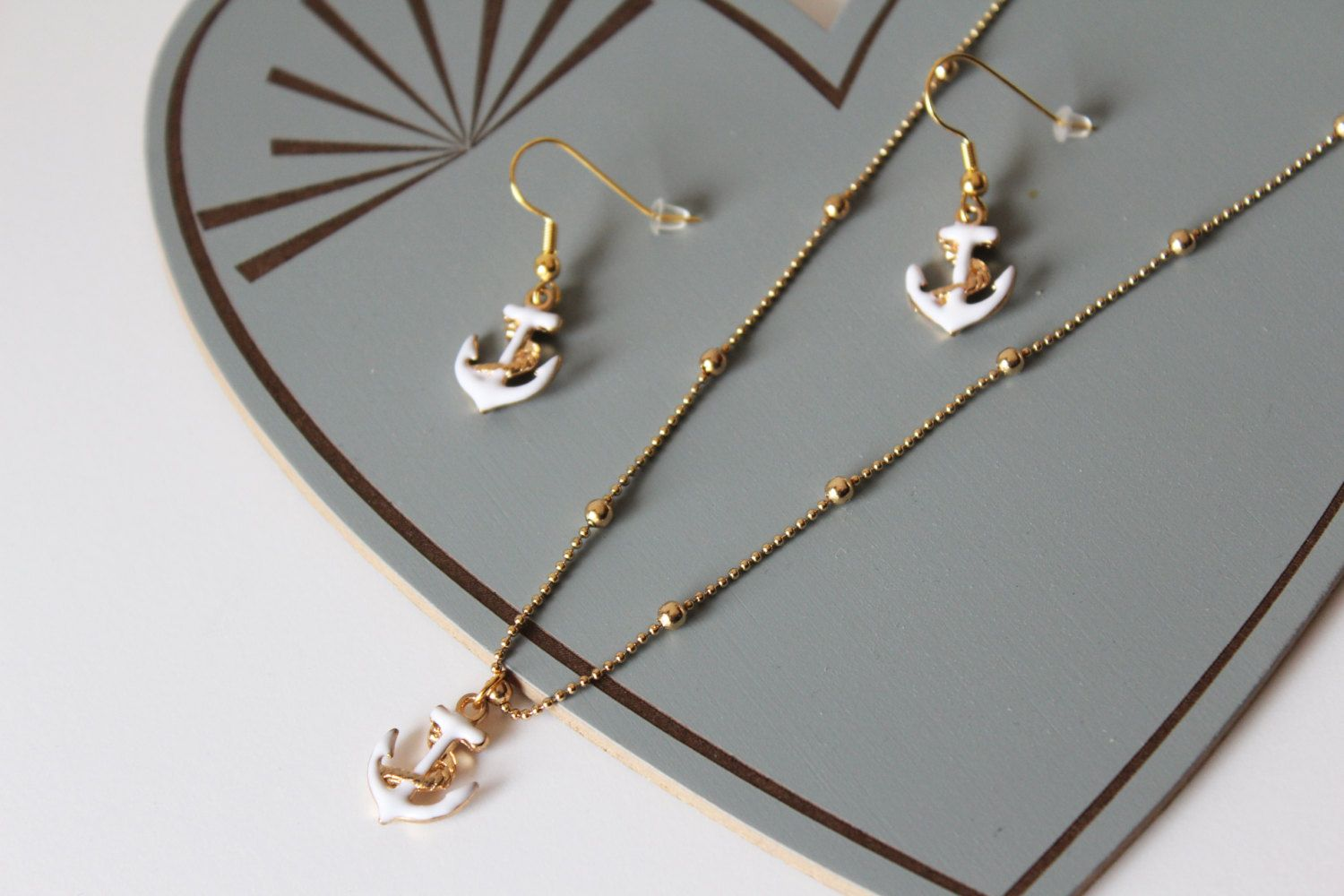 White Anchor Necklace & Earrings - Nautical Gold Jewelry Set / Dainty Anchor Charm Gold Chain / Refuse to Sink, Be Your Own Anchor Girl Gift by MaisonMagnolia on Etsy