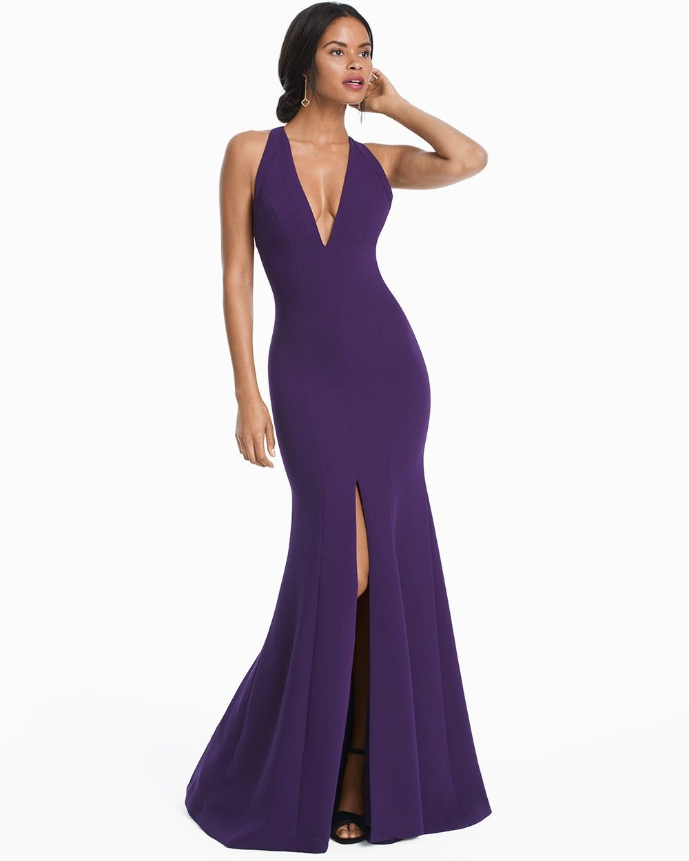Women\'s Carmen Marc Valvo Plunge V-neck With Front Slit Gown by WHBM ...