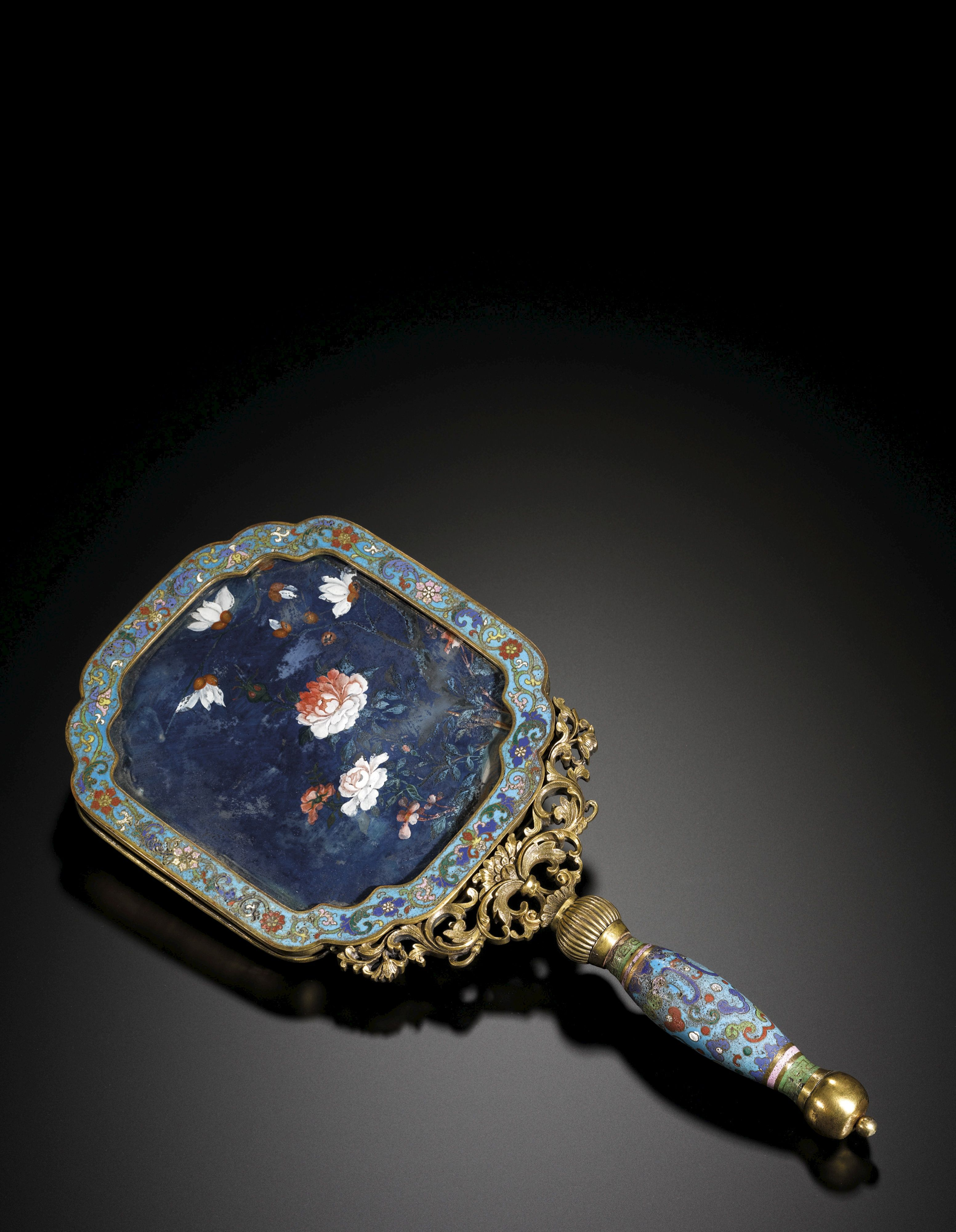 A CLOISONNÉ MIRROR WITH A REVERSE-GLASS PAINTING<br>QING DYNASTY, 18TH CENTURY | Lot | Sotheby's