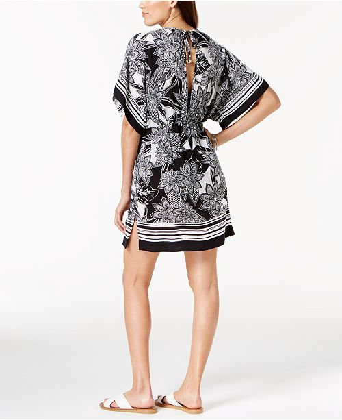 f11e7edfa904e Lauren Ralph Lauren Printed Tunic Cover-Up - Black/white XS | BEACH BOUND |  Tunic, Cover up, Black, white