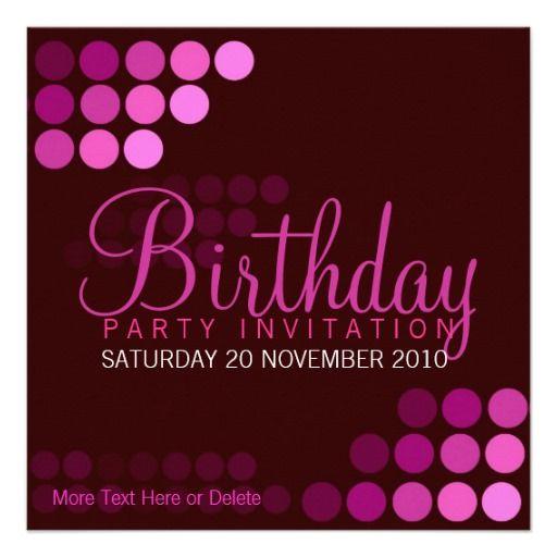Funky Rosa Party Geburtstags Einladung Vorlage