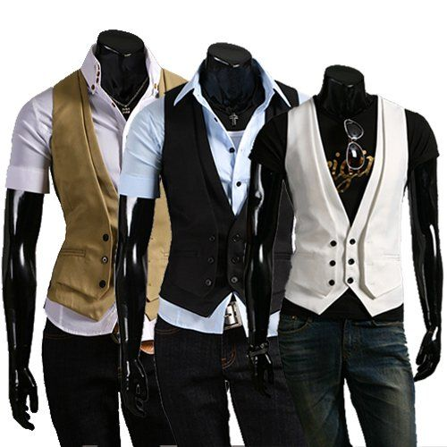 Fine coat slim male deductive off two design men's Vest Free ...